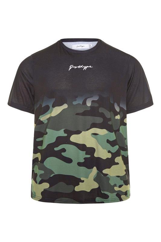 Plus Size  HYPE Black Camo Fade T-Shirt