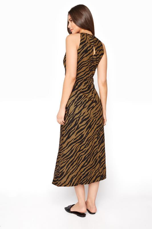 Brown Animal Print Linen Blend Keyhole Dress_C.jpg