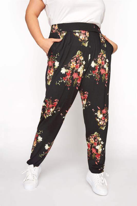 Plus Size  Black Floral Print Jersey Joggers