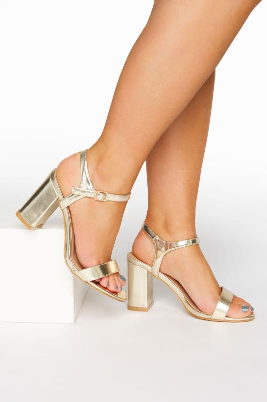 Großen Größen  LIMITED COLLECTION Gold Block Heeled Sandal In Extra Wide Fit