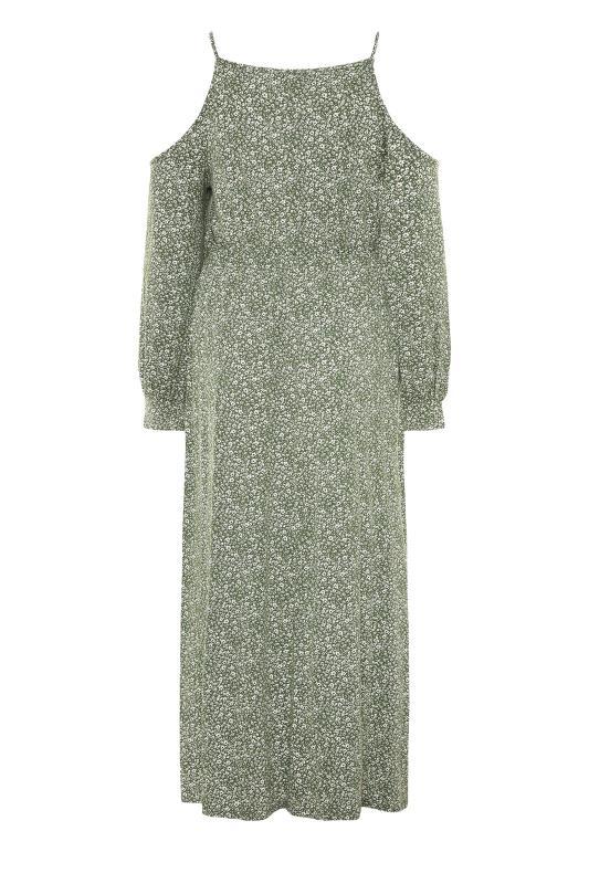 Green Floral Cold Shoulder Maxi Dress_BK.jpg