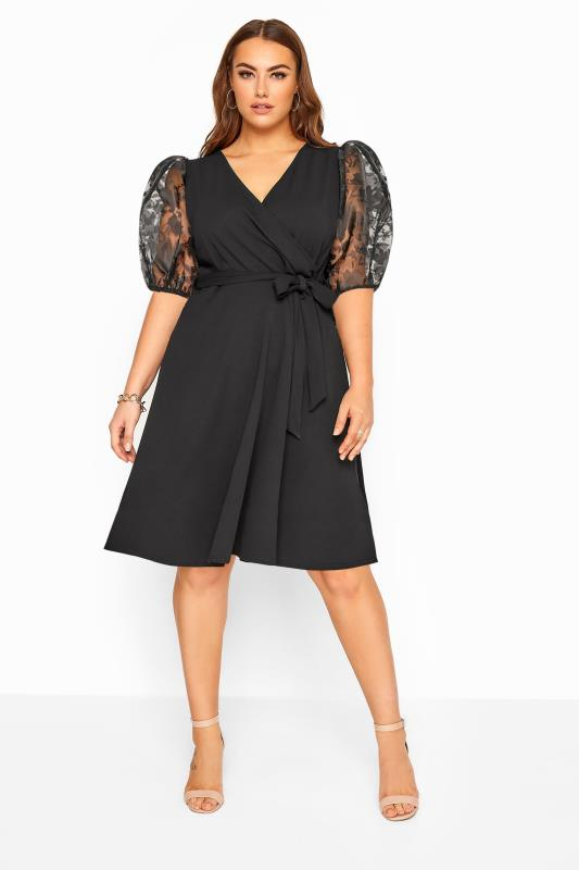 YOURS LONDON Black Floral Organza Puff Sleeve Wrap Dress
