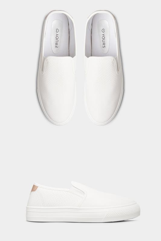 Yours White Croc Platform Slip On Trainers In Regular Fit