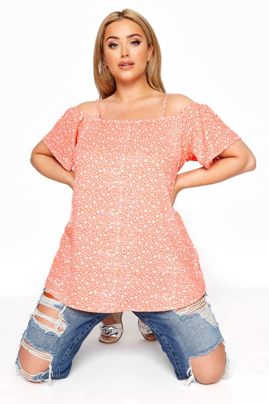 Plus Size  Orange Cold Shoulder Ditsy Top