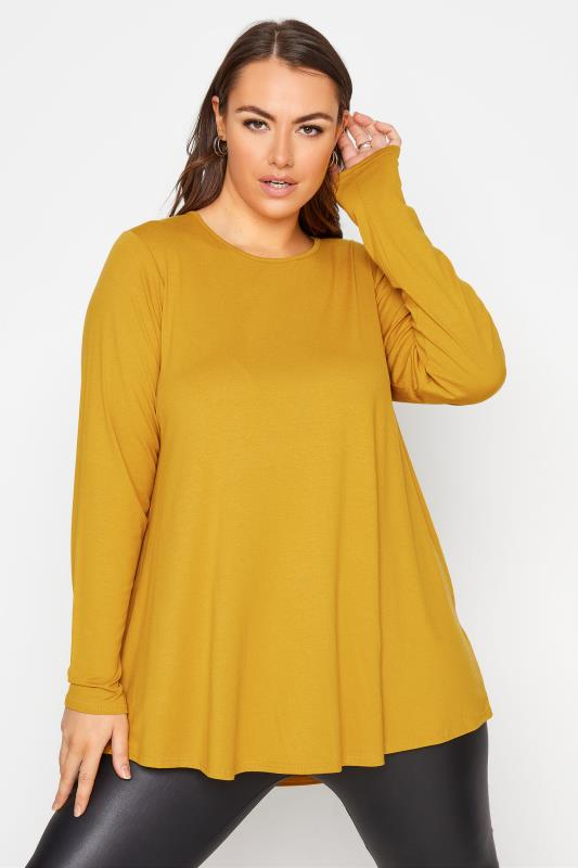 Plus Size  LIMITED COLLECTION Mustard Yellow Long Sleeve Swing Top