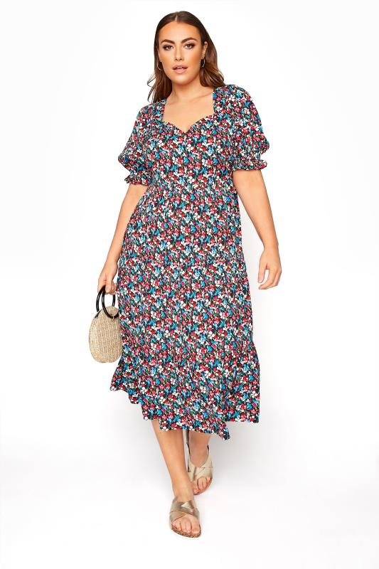 LIMITED COLLECTION Black Floral Milkmaid Midi Dress
