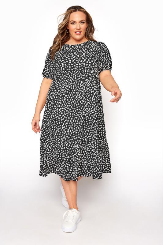 Plus Size  Black Floral Frill Hem Dress