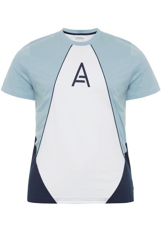 Plus Size  STUDIO A Blue Panelled T-Shirt