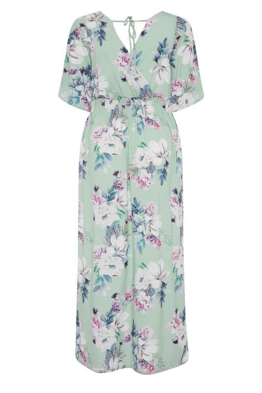 YOURS LONDON Green Floral Wrap Midaxi Dress_BK.jpg