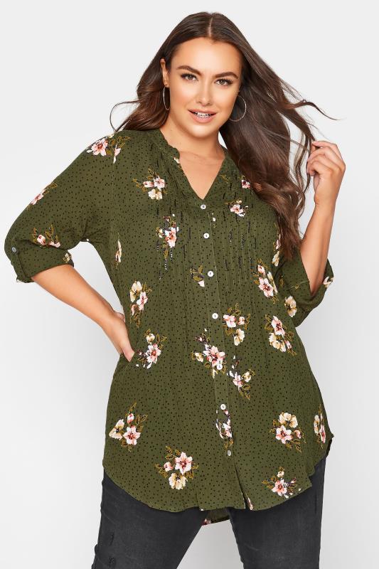 Plus Size  Khaki Floral Pinktuck Blouse