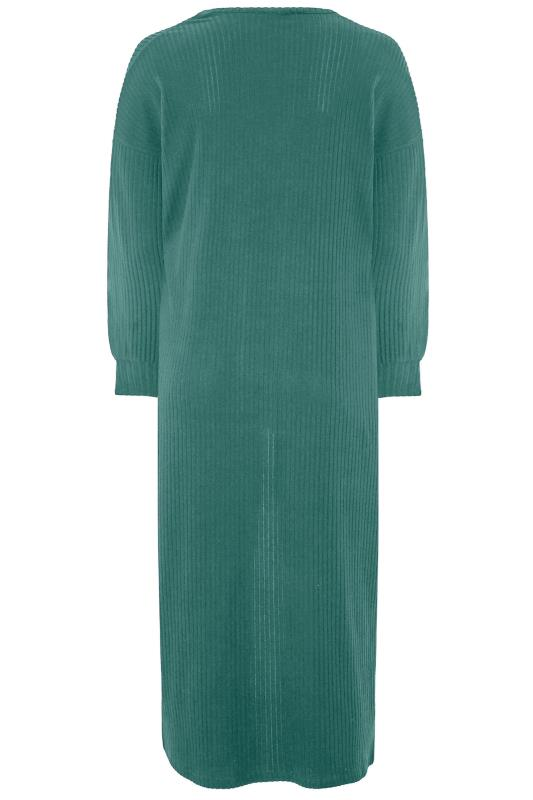 LIMITED COLLECTION Forest Green Ribbed Long Cardigan_BK.jpg
