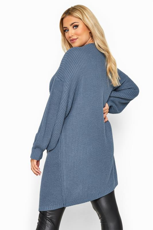 Blue Oversized Balloon Sleeve Knitted Cardigan