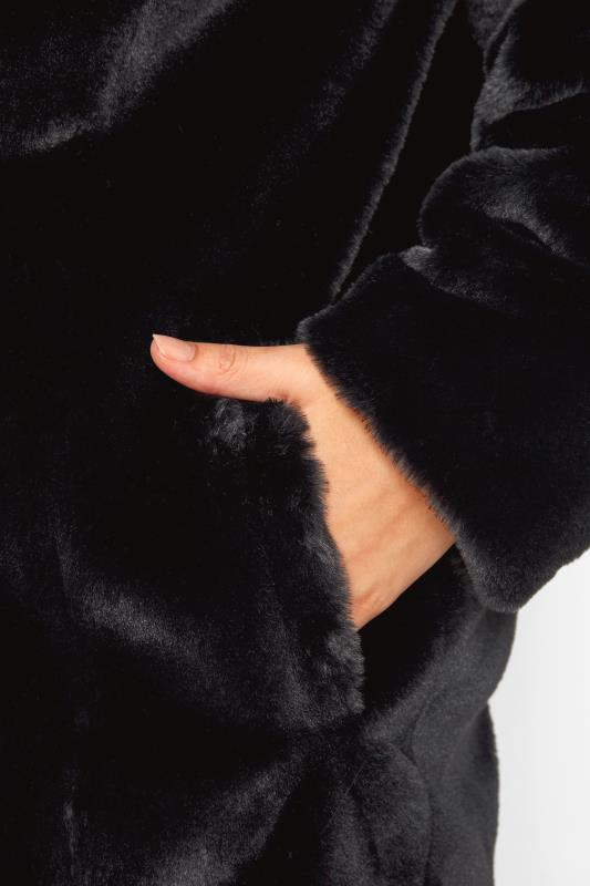 Black Faux Fur Hooded Coat