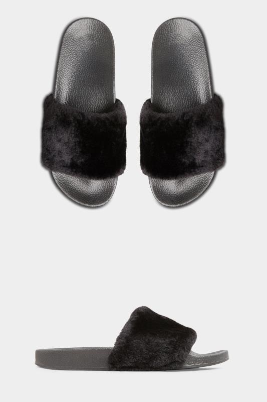 Black Vegan Faux Fur Sliders In Regular Fit
