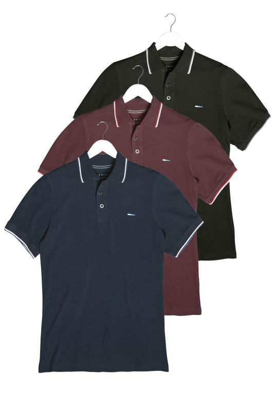 Tallas Grandes BadRhino Multi 3 Pack Tipped Polo Shirts