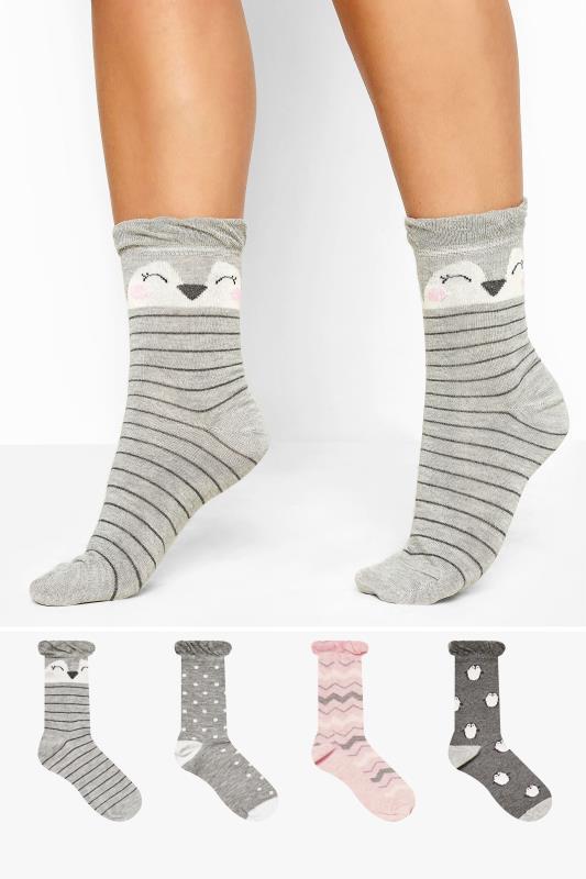4er Pack Socken mit Pinguin-Muster - Grau
