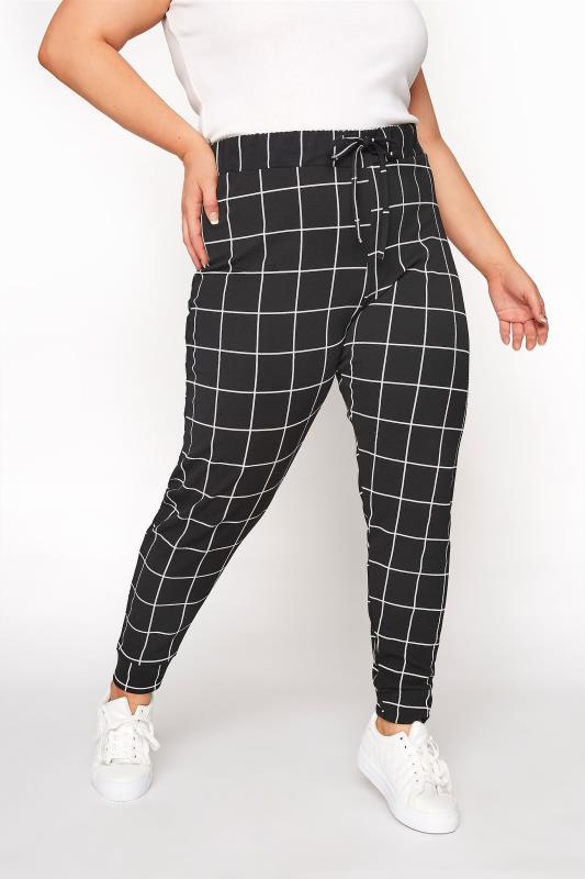 Plus Size  Black Grid Check Cuffed Trousers