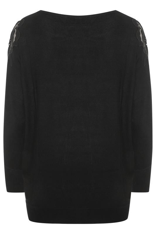 Black Lace Shoulder Knitted Jumper