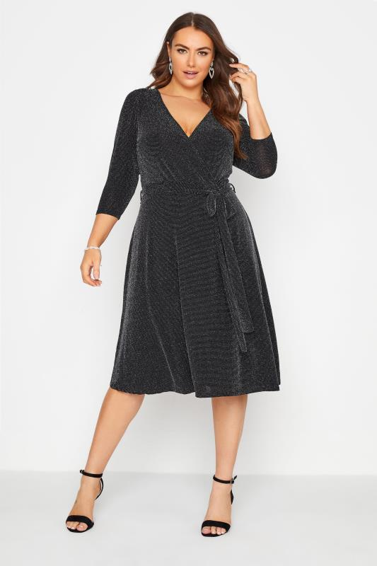 Plus Size  YOURS LONDON Black Glitter Wrap Dress