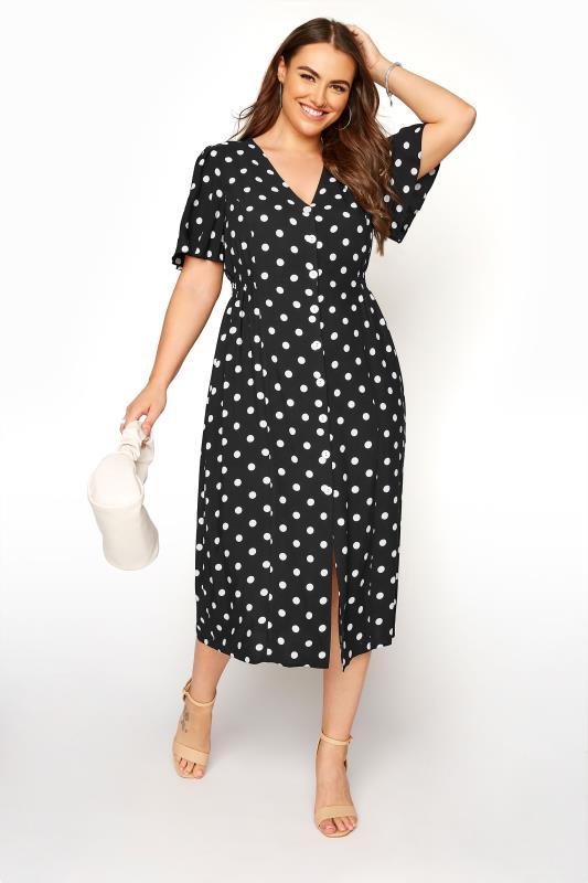 Plus Size  YOURS LONDON Black Polka Dot Button Through Midi Dress