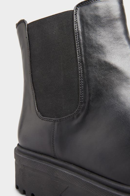 LIMITED COLLECTION Black Vegan Faux Leather Platform Chelsea Boots In Extra Wide Fit_D.jpg