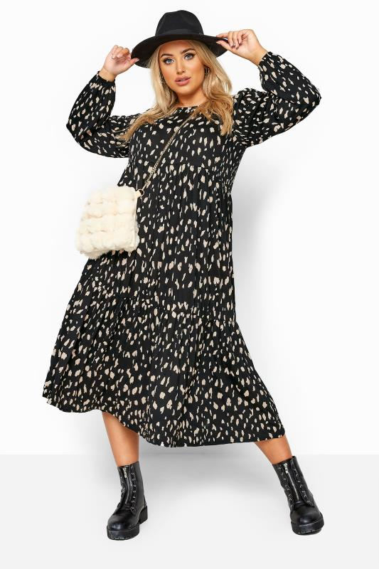 Black Animal Marking Balloon Sleeve Tiered Midaxi Dress