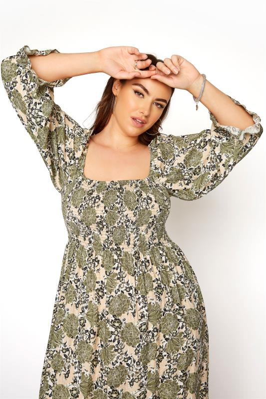 YOURS LONDON Green Shirred Front Floral Midaxi Dress_D.jpg