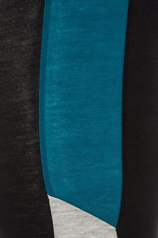 LIMITED COLLECTION Black & Teal Colour Block Leggings_S.jpg