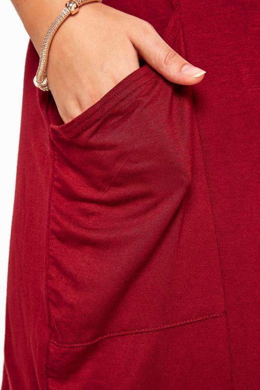 Dark Wine Drape Pocket Dress