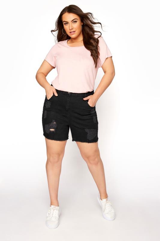 Black Ripped Denim Mom Shorts_B.jpg