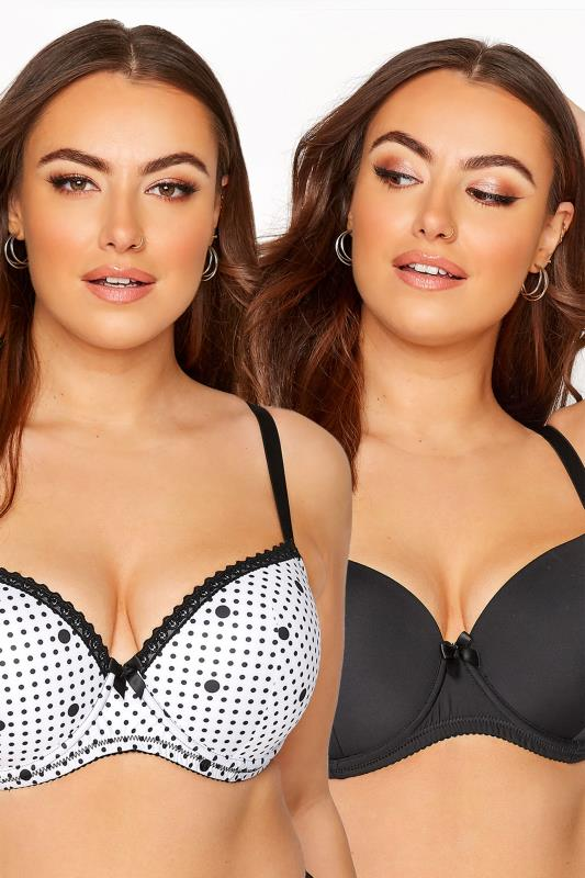 Plus Size  2 PACK White & Black Spot T-Shirt Bras