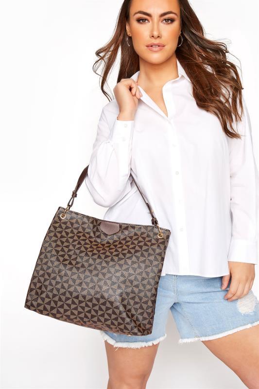Brown Geometric Print Shoulder Bag