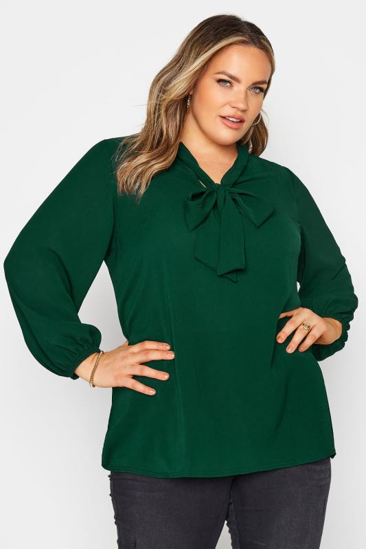 YOURS LONDON Forest Green Bow Blouse_A.jpg