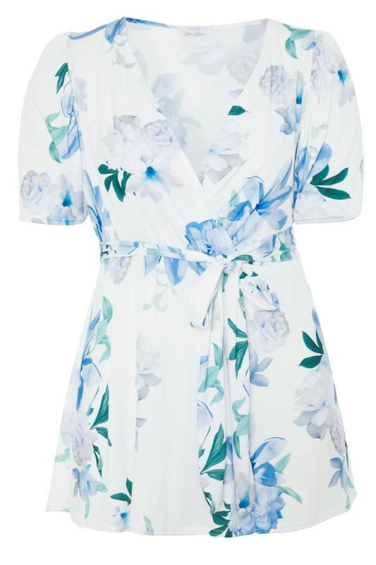 YOURS LONDON White Floral Puff Sleeve Wrap Top_f.jpg