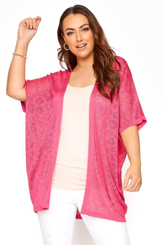 Plus Size  Pink Knitted Pointelle Leopard Print Cardigan