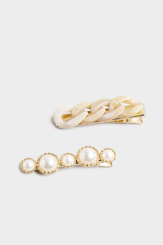 2 PACK Stone Tortoiseshell and Pearl Hair Clips_A.jpg