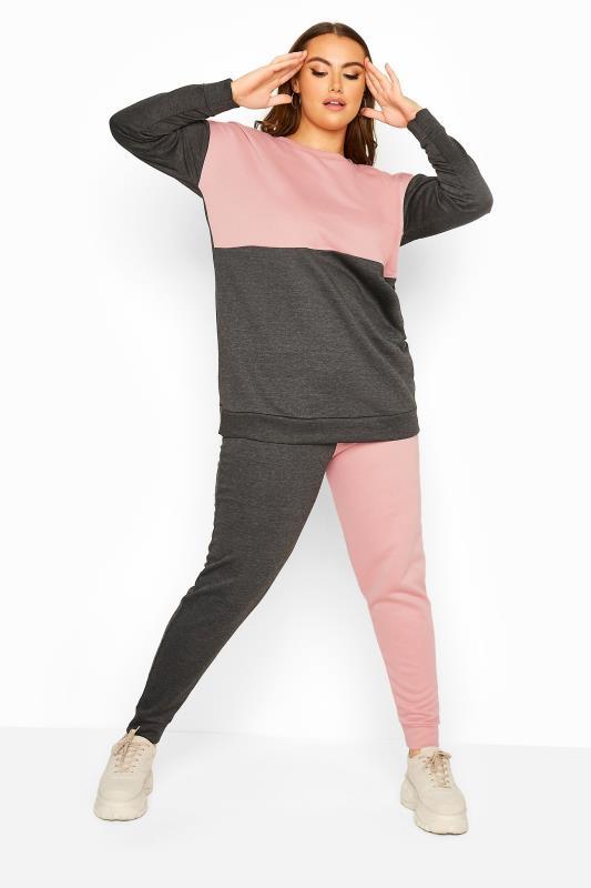 Plus Size  Charcoal Grey & Pink Colour Block Sweatshirt