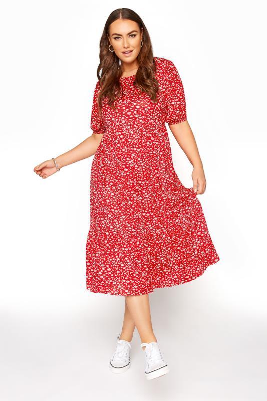 Großen Größen  Red Ditsy Puff Sleeve Midaxi Dress