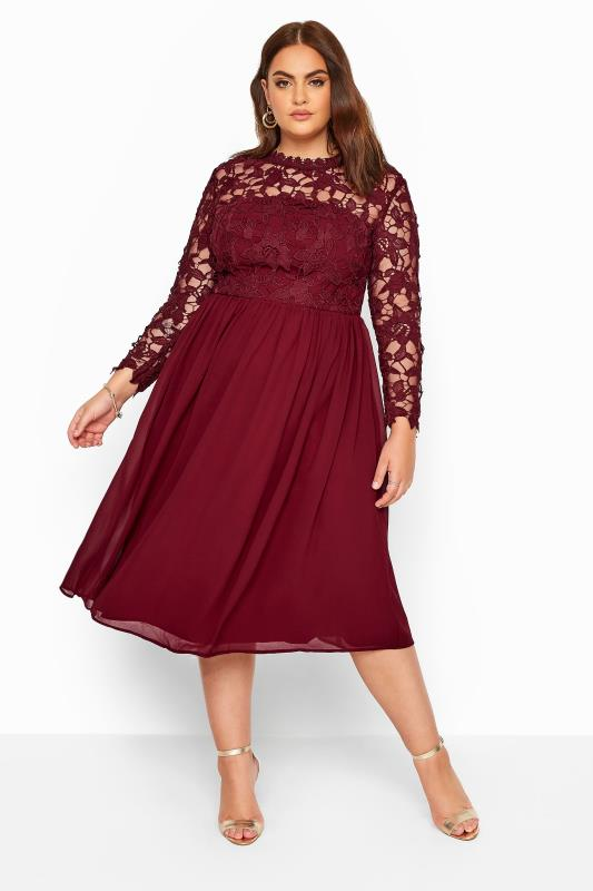 Casual / Every Day Grande Taille CHI CHI Burgundy Lace Embroidered Midi Dress