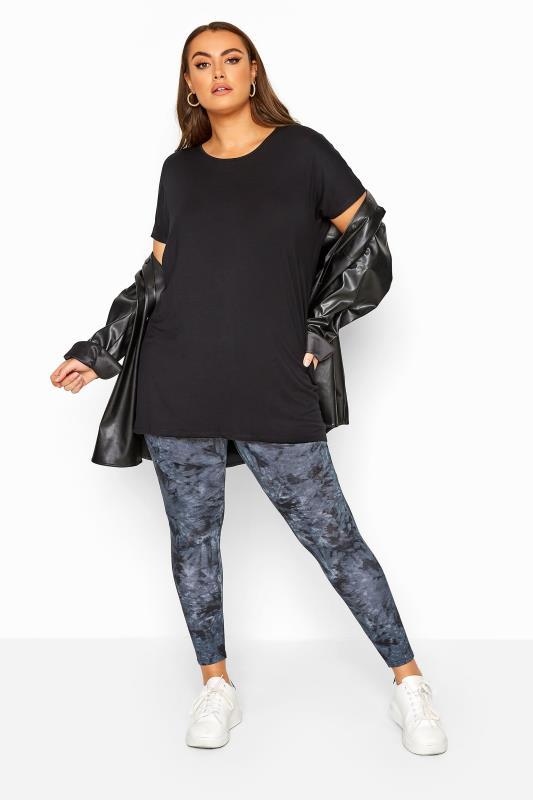 Plus Size Fashion Leggings Indigo Blue Tie Dye Leggings