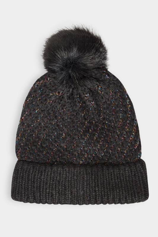 Black Rainbow Metallic Pom Pom Cable Knitted Hat