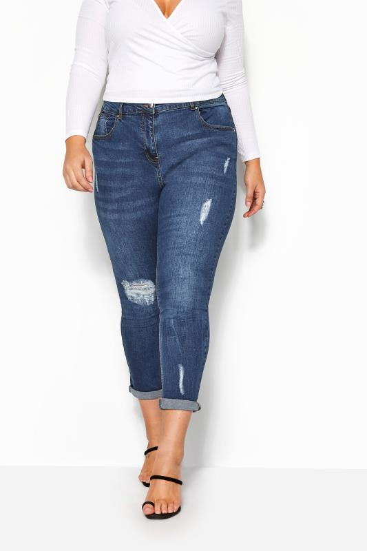 Mid Blue Distressed Mom Jeans