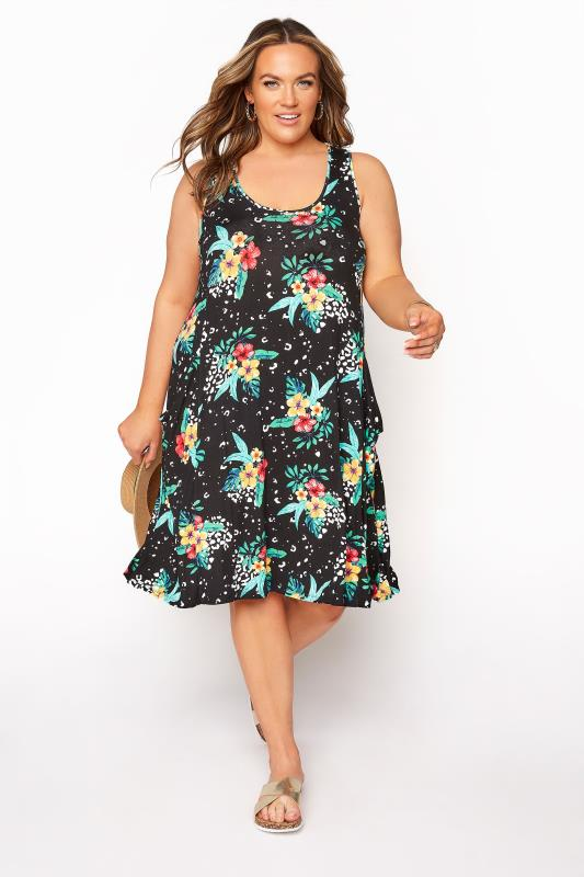 Plus Size  Floral Animal Drape Pocket Sleeveless Dress