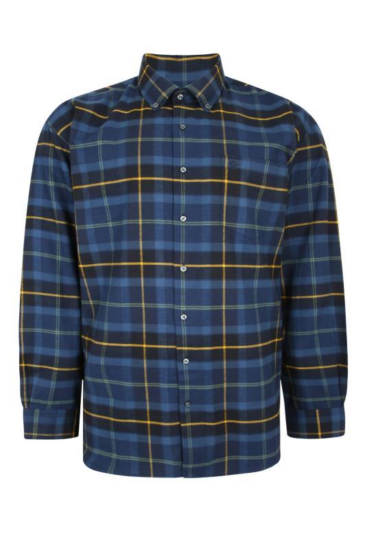 Plus Size  ESPIONAGE Blue Check Long Sleeve Shirt