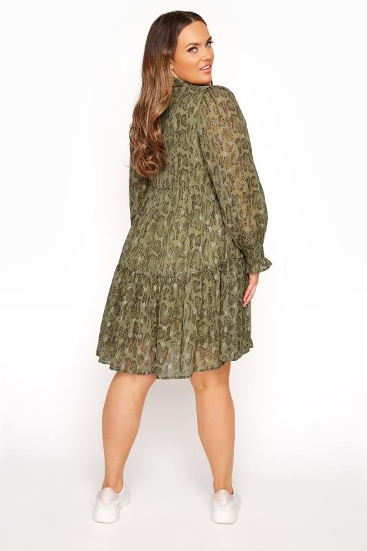 LIMITED COLLECTION Khaki Foil Snake Tiered Shirt Dress_C.jpg