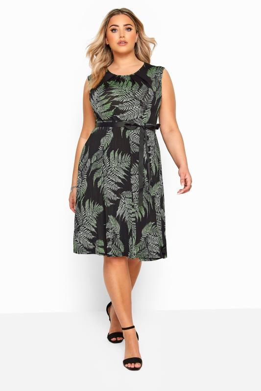 Plus Size Skater Dresses YOURS LONDON Black Leaf Print Skater Dress