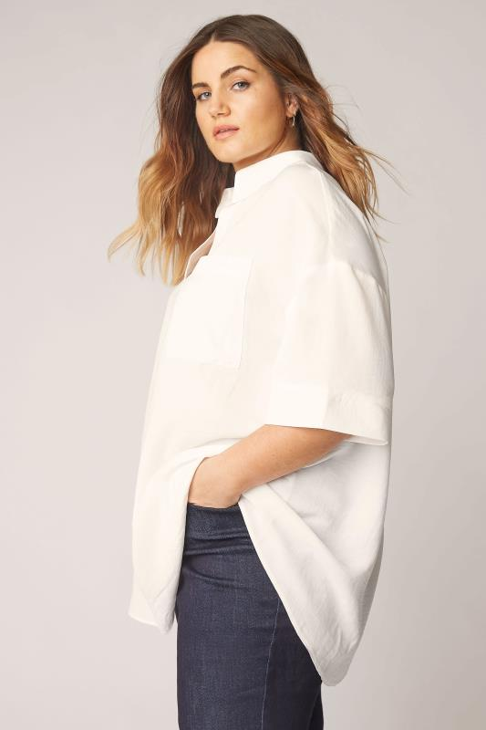 Plus Size  THE LIMITED EDIT White Pleated Front Top
