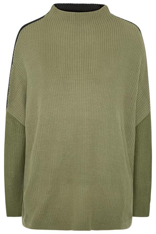 Khaki Colour Block Oversized Knitted Jumper_F.jpg
