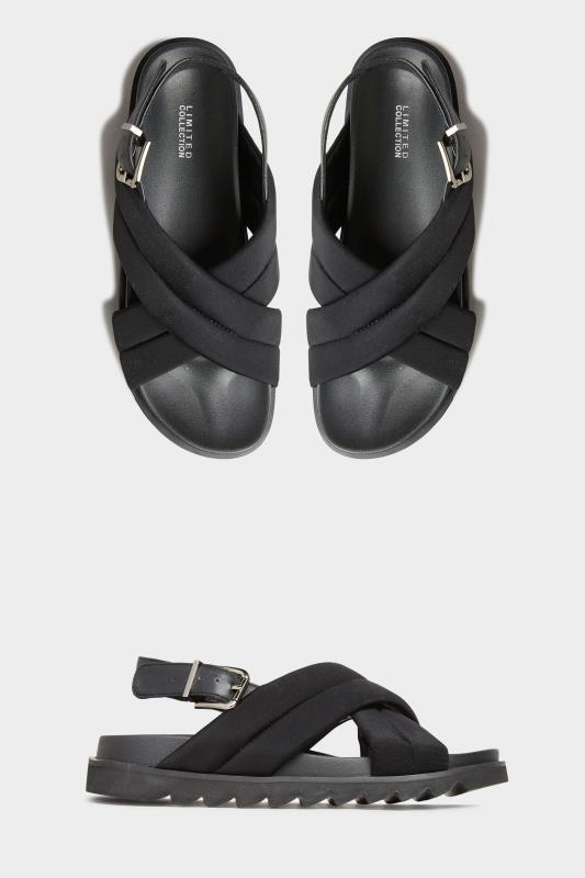Yours LIMITED COLLECTION Black Padded Sandals In Extra Wide Fit