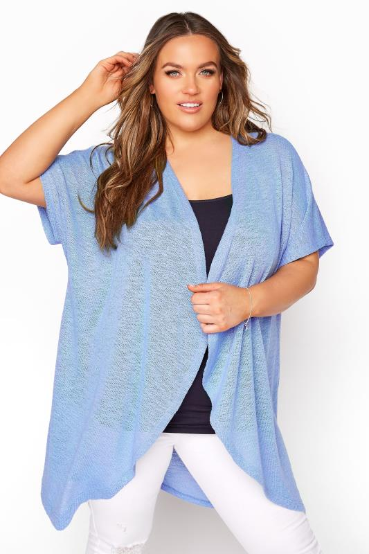 Plus Size  Blue Waterfall Cardigan